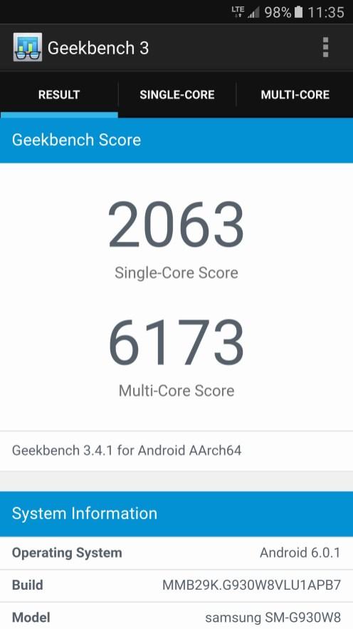 Samsung Galaxy S7 - Geekbench 3