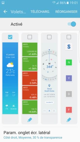 Samsung Galaxy S7 edge - Ecrans edge par defaut