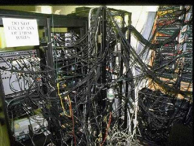 network cable management done wrong rh geeksaresexy net Network Wiring Closet Wiring Closet Tangled