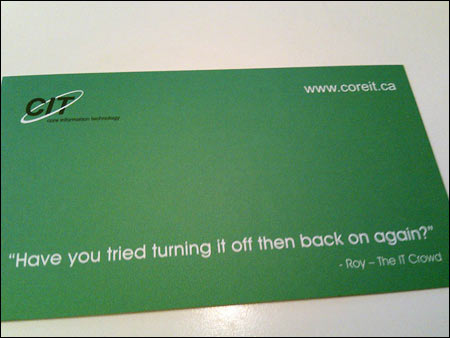 Best it support business card ever you may consider having a similar card made for yourself so that the next time a client calls in for support you just tell them to look at your card solutioingenieria Gallery