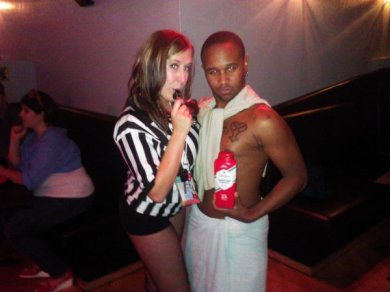 Sarah as a Sexy Referee with the Old Spice Guy