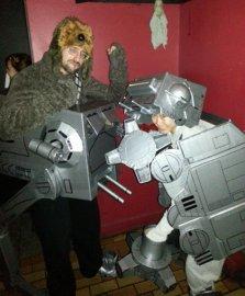 Kevin P. as a Wookiee driving an AT-ST - Melina M. as an AT-AT