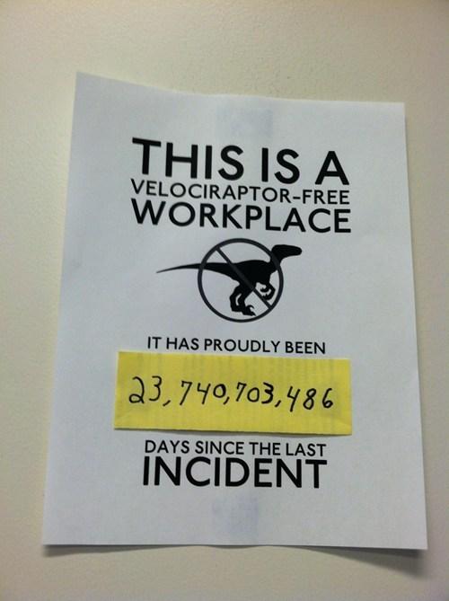 A Velociraptor Free Workplace Pic