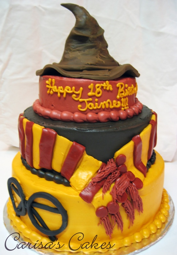 Awesome 3 Tiered Harry Potter Birthday Cake Pic Funny Birthday Cards Online Overcheapnameinfo