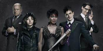 GOTHAM: L-R: John Doman as Carmine Falcone, Camren Bicondova as Selina Kyle, Jada Pinkett Smith as Fish Mooney, Robin Lord Taylor as Oswald Cobblepot and Cory Michael Smith as Edward Nygma star as the villains of GOTHAM.