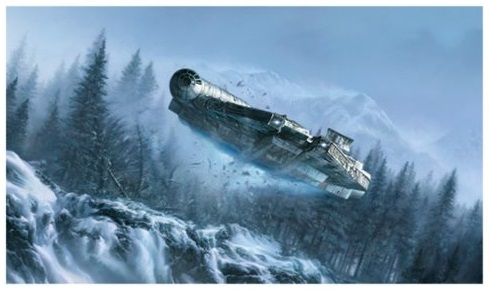 The Millennium Falcon from Star Wars The Force Awakens Giclee Wall Fine Art Print