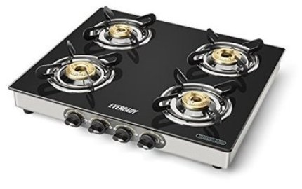 Eveready TGC4B Glass Top Gas Stove, 4 Burner Gas Stove