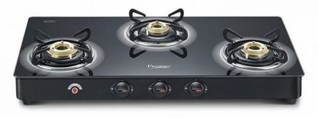 Prestige Royale Plus Schott Glass 3 Burner Gas Stove