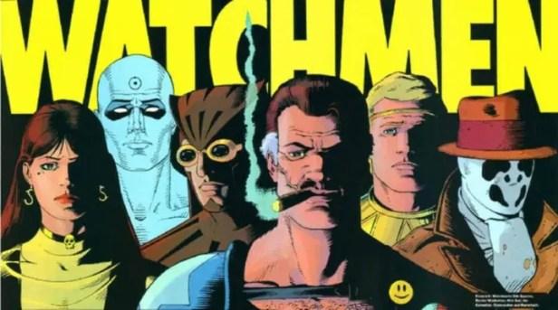 [De gauche à droite : Spectre Soyeux II, Dr Manhattan, Le Hibou II, Le Comédien, Ozymandias et Rorschach]