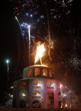 Fireworks over the Burning Man Temple