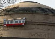 Solar powered Red Line train that rode around the building on a track
