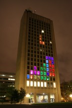 Fully playable game of Tetris on Green Building