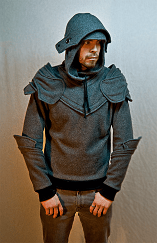 Grey Knight Armored Hoodie with facemask up