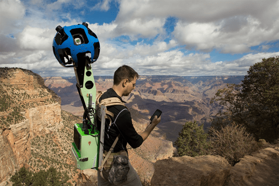 Google Street View Trekker operator checks the system on his Android device