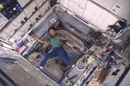 Boomerang thrown in zero gravity environment
