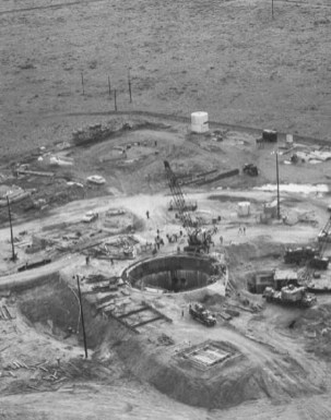 A Atlas F missile silo being constructed in the 1960's