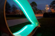 Solar light tape illuminates the chair at night