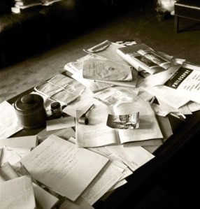 Einstein's cluttered desk on the day that he died