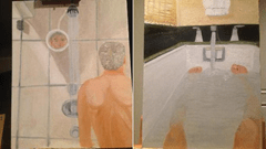 George Bush self portraits of himself taking a bath and shower