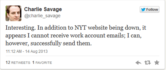 New York Times tweet hinting that cyberattack may be targeting the entire NYT network