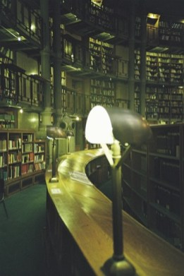 Unusual arrangement of books in a library