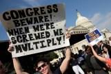 Citizens protest the United States government shutdown over Obamacare