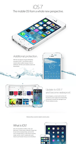 Fake iOS 7 ads purport the OS upgrade makes your iPhone waterproof