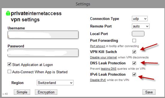 pia VPN settings on Kali Linux