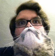 Well-timed photo gives man the allusion of cat-face