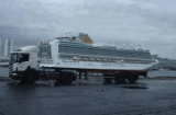 Well-timed photo gives appearance of cruise ship atop bed of truck