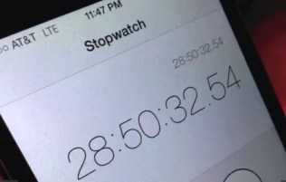 Stopwatch showing final race time of 28 hours 50 minutes