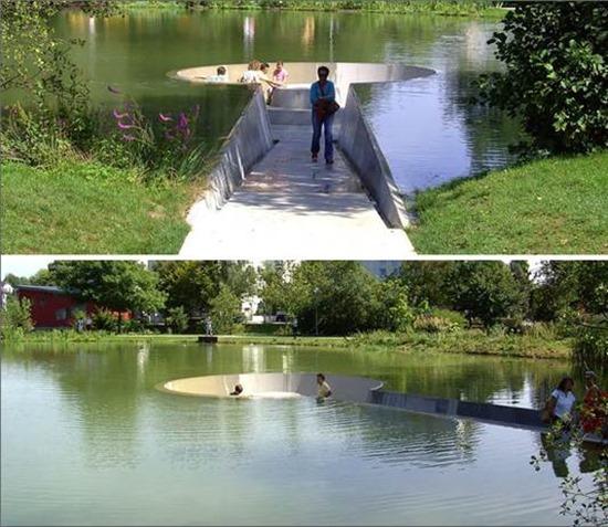 Park bench receded into lake, Wespol, Australia.