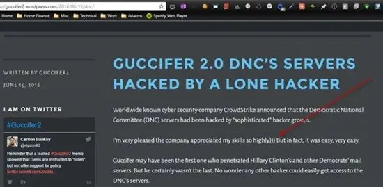 Guccifer 2.0 web page shows distinct Russian characteristics