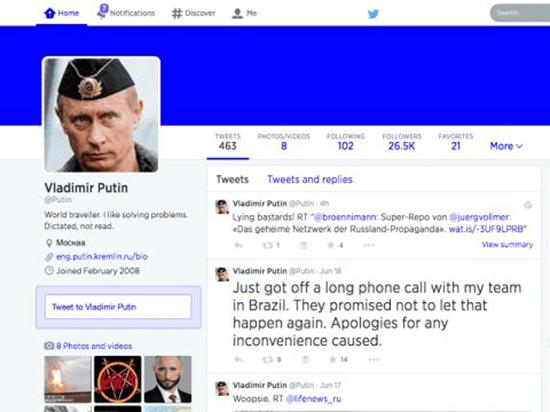 Fake Vladimir Putin Twitter account