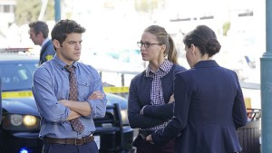 """Childish Things"" -- Kara (Melissa Benoist, center) does her best to support Winn (Jeremy Jordan, left) when his father, the supervillain Toyman, breaks out of prison and seeks out his son for unknown reasons, on SUPERGIRL, Monday, Jan. 18 (8:00-9:00 PM, ET/PT) on the CBS Television Network.  Also pictured: Emma Caulfield (right) Photo: Monty Brinton/CBS ©2015 CBS Broadcasting, Inc. All Rights Reserved"