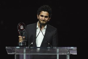 LAS VEGAS, NV - APRIL 14:  Director Dave Green accepts the award on behalf of actor Stephen Amell, recipient of the Male Star of Tomorrow Award, during the CinemaCon Big Screen Achievement Awards brought to you by the Coca-Cola Company at Omnia Nightclub at Caesars Palace during CinemaCon, the official convention of the National Association of Theatre Owners, on April 14, 2016 in Las Vegas, Nevada.  (Photo by Ethan Miller/Getty Images ) *** Local Caption *** Dave Green