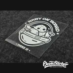 Baby Yoda car decal baby on board sticker Die-cut Cartoon Vinyl waterproof reflective decal sticker black/silver white-3