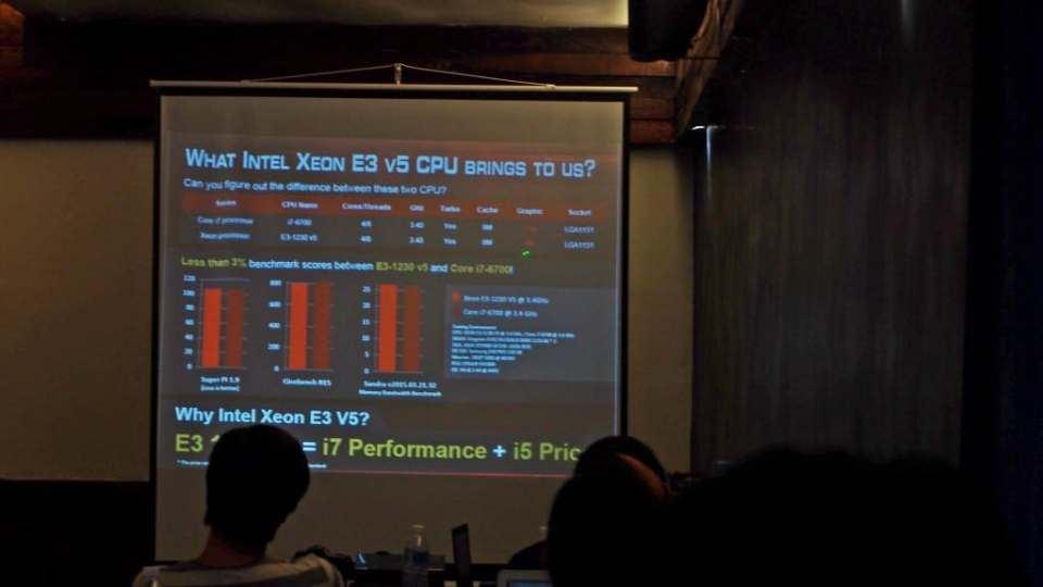 Asus was sure serious about Xeon as your new CPU. Here they were comparing an i7 6700 to a Xeon E3 1230 v3