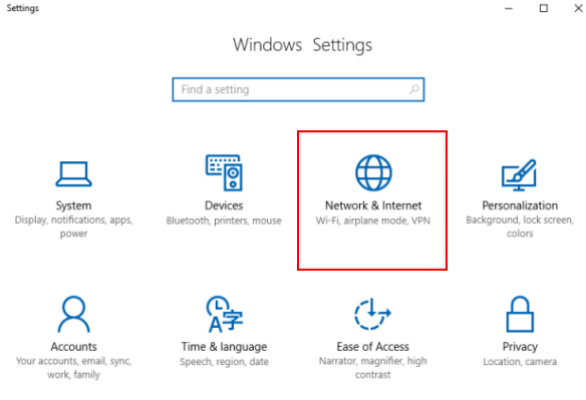 windows setting in windows 10