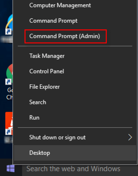 Command Prompt (Admin) in Start Menu