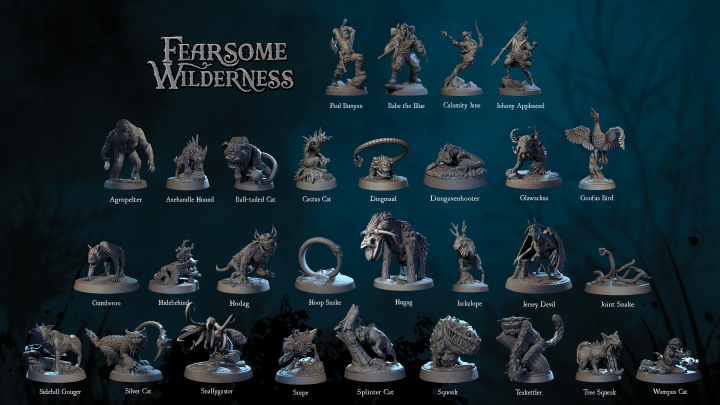 Miniatures of folk heroes and fearsome critters for the tabletop board game Fearsome Wilderness