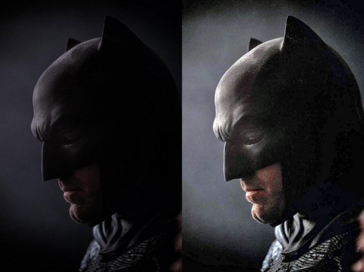 Ben Affleck in Bat Cowl. Original (left) and lightened (right)