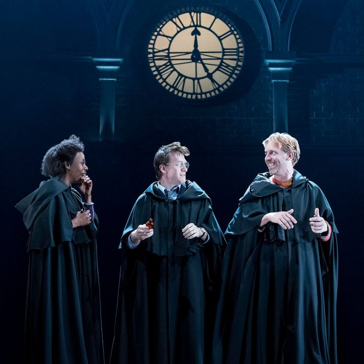 Hermione (Noma Dumezweni), Harry (Jamie Parker) and Ron (Paul Thornley) photo credit Manuel Harlan