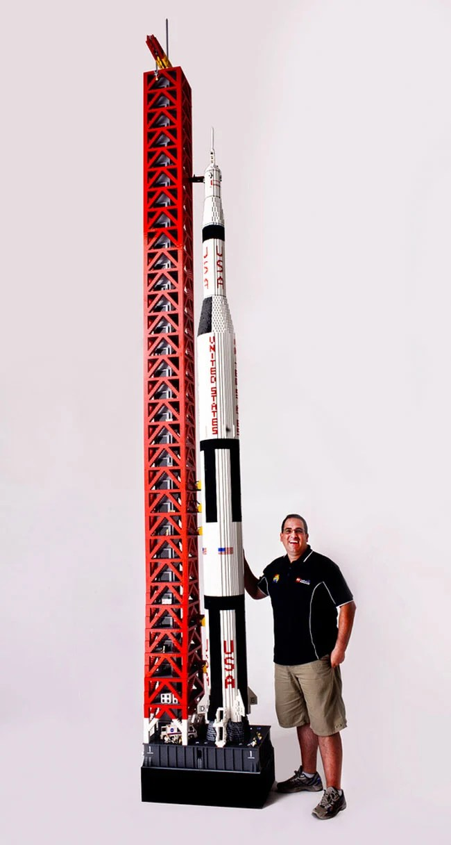 massive lego saturn v rocket stands 19ft tall uses 120 000 lego