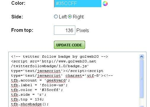 Add Twitter Floating Follow me button on Blogger