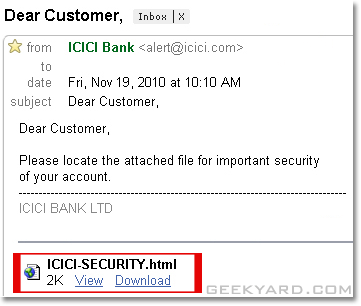 ICICI-Security Email Attachment