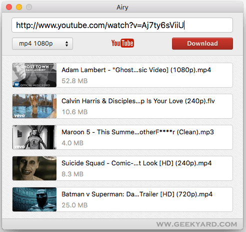 Airy - YouTube downloader for Mac