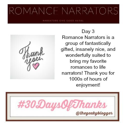#Day3 #30DaysOfThanks #BookGram Romance Narrators