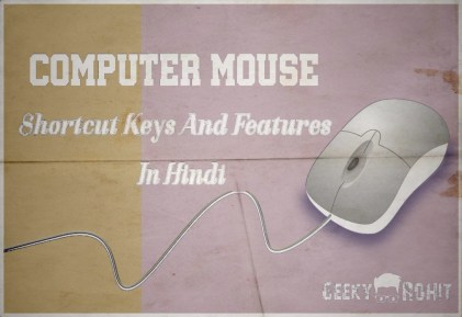 Shortcut Keys And Features Of Computer Mouse