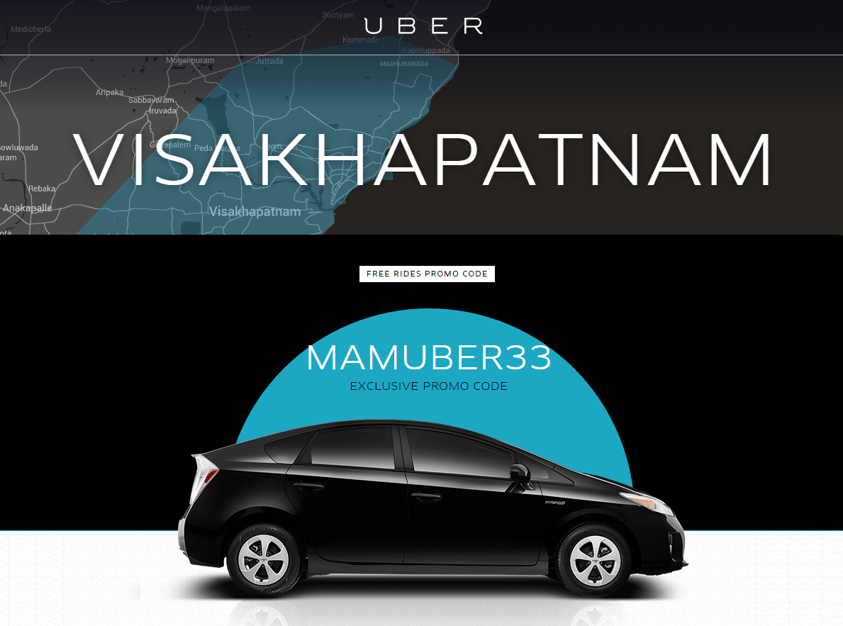 Uber Vizag Free Rides Coupons - September 2015
